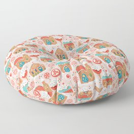 Gingerbread Candy Land on pink Floor Pillow