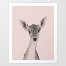 Little deer in pink Art Print