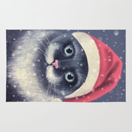 Christmas cat with a mustache Rug
