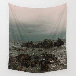 Dark Blue Rocky Ocean Wall Tapestry