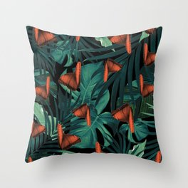 Tropical Butterfly Jungle Night Leaves Pattern #2 #tropical #decor #art #society6 Throw Pillow