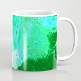 Green, Blue, and White Fluid Acrylic Abstract Painting 2 Coffee Mug