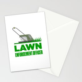 Lawn Enforcement Officer With Mover Funny Gardening Distressed Stationery Cards