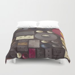 Music. Vintage wall with vinyl records and audio cassettes hung. Duvet Cover