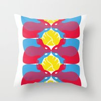 rabbits Throw Pillows featuring Rabbits by aquamarine