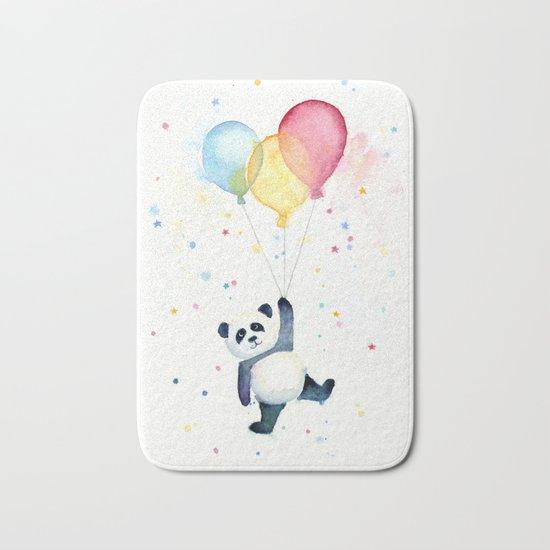 Birthday Panda Balloons Cute Animal Watercolor Bath Mat
