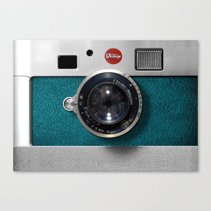 Blue Teal retro vintage camera with germany lens Leinwanddruck