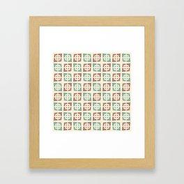 Mid Century Modern Pattern 273 Brown Turquoise Framed Art Print