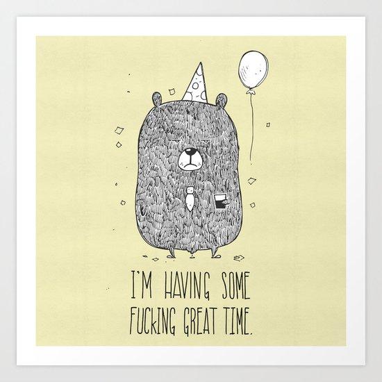 Unemotional Bear Art Print