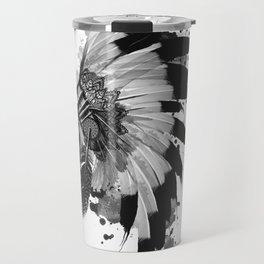 black and white headdress Travel Mug