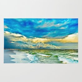 Blue Grean Fine Art Print Painted Seascape Rug