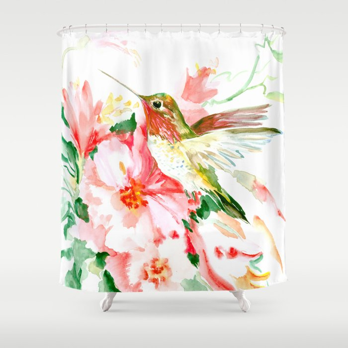 Hummingbird, Hawaiian Design, Hibiscus And Hummingbird Shower Curtain