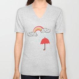 April showers rainbow Clouds Pink #nursery Unisex V-Neck
