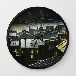 Rainy night in the factories Wall Clock