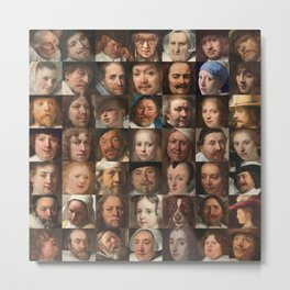 Faces of the Golden Age - Collage of portraits of Dutchmen Metal Print
