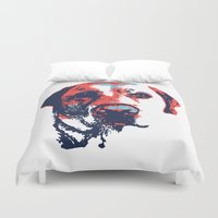 patriotic Duvet Covers featuring Patriotic Labrador  by Rachel Barrett