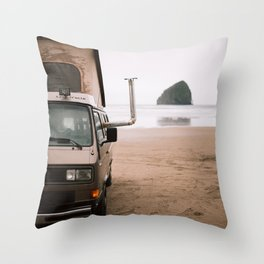 Cape Kiwanda Beach Westfalia Throw Pillow