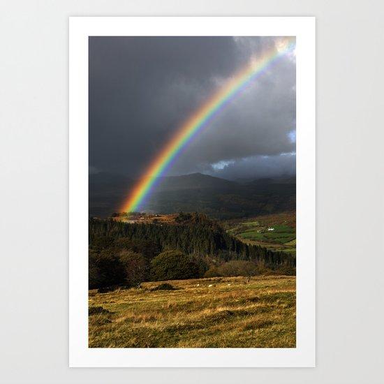 Rainbow, Lledr Valley, Snowdonia, North Wales, UK. Art Print