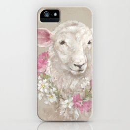 Sheep With Floral Wreath by Debi Coules iPhone Case