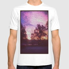Pink Sunrise White MEDIUM Mens Fitted Tee