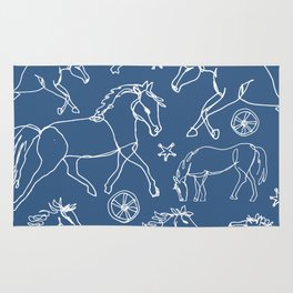 Galloping Horses, White on Navy Blue Rug