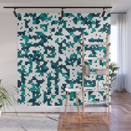 Take me to the bottom of the ocean - Random Pixel Pattern in shades of blue green Wall Mural