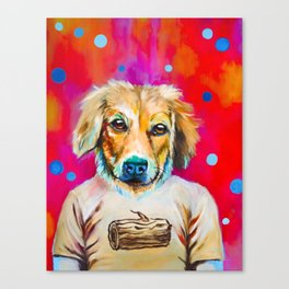 Log Dog Canvas Print