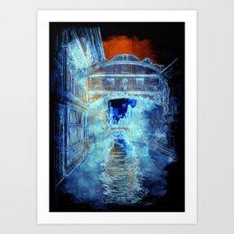 Venezia Ponte di Sospiri  - SKETCH - ART Art Print