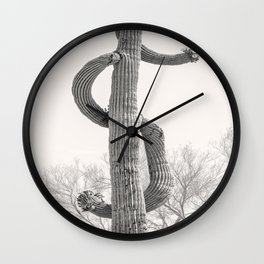 Dollar Saguaro, Black and White Desert Cactus Art by Murray Bolesta Wall Clock