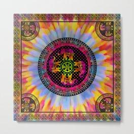 Psychedelic Elephant Mandala Pink Yellow Blue Metal Print