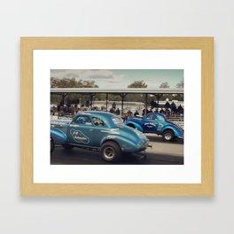 Blue Vintage Willys Gasser Hot Rods Drag Racing Framed Art Print