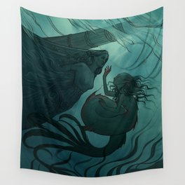 The day a mermaid found a shipwreck Wall Tapestry
