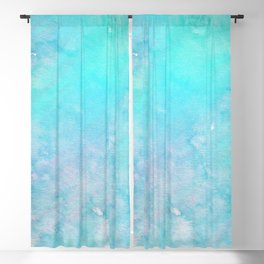 Abstract Teal Turquoise Pink Watercolor Holographic Blackout Curtain