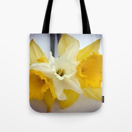 Daffodils resting in the snow after a late London snowstorm in March Tote Bag