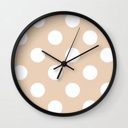 Large Polka Dots - White on Pastel Brown Wall Clock