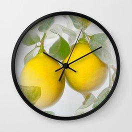 Yellow Citrons on Gray Background in Illuminating & Ultimate Gray Palette #decor #society6 #buyart Wall Clock