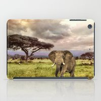 novelty iPad Cases featuring Elephant Landscape Collage by Moody Muse
