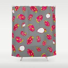Dragon Fruit on Grey Shower Curtain