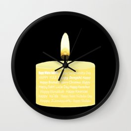 Happy Holidays Candle Wall Clock