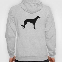 Greyhound square black and white minimal dog silhouette dog breed pattern Hoody