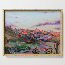 Tucson Sunset by the Catalina foot hills - Thimble peak Serving Tray