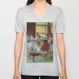 Classical Masterpiece 'Ballet School' by Edgar Degas Unisex V-Neck