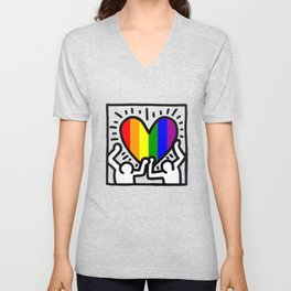 Pride heart, tribute to Keith Haring. Great LGBT gift. Unisex V-Neck