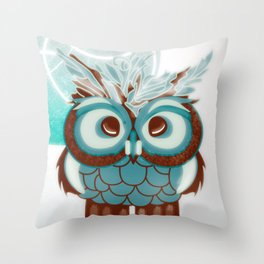 Fluffy Owl Throw Pillow