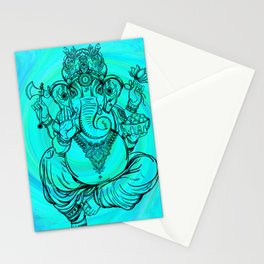 Lord Ganesha on Aqua Spiral Stationery Cards