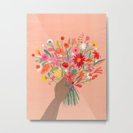 Babe with bouquet Metal Print