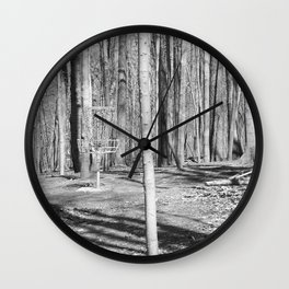 Black And White Disc Golf Basket Wall Clock
