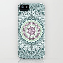 Color teal and purple feather mandala hippie boho iPhone Case