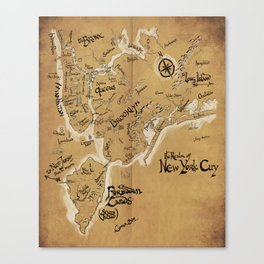 The Realm of New York City Map (now featuring more Staten Island) Canvas Print