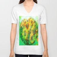 sunflower V-neck T-shirts featuring Sunflower by Ganech joe